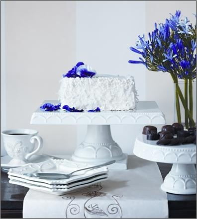 Simple white with stand out accent florals #HomeGoodsWedding - Repin to win!: Cakes Buffet, Cakes Plates, Coconut Cakes, Simple White, Wedding Cakes, White Cakes, Cakes Stands, Accent Floral, Blue And White