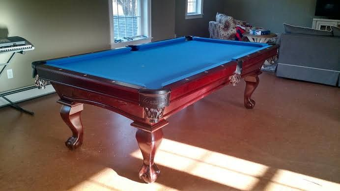 Connelly San Carlos pool table, Millcreek stain on Maple with Ball in Claw style legs.The San Carlos, and all Connelly pool table models are available at Maine Home Recreation.