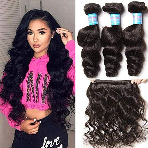 New Donmily 10A Remy Brazilian Loose Wave Hair 3 Bundles Bouncy Curl Brazilian Virgin Human Hair Weave Extension Natural Color (18 20 22) online