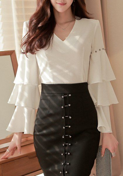 Elegant V-Neck Beaded Long Sleeve Ruffled Chiffon Blouse ==
