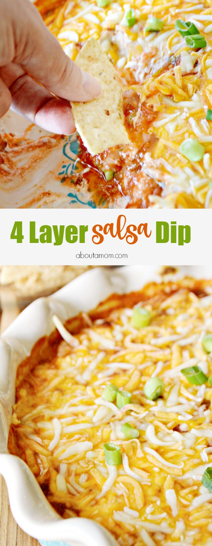 Easy 4 layer dip recipe. Layers of cream cheese, chili beans, Fresh Cravings Restaurant Style salsa, and a mixture of colby and jack cheeses come together to make a delicious dip that will have your friends and family begging for more.