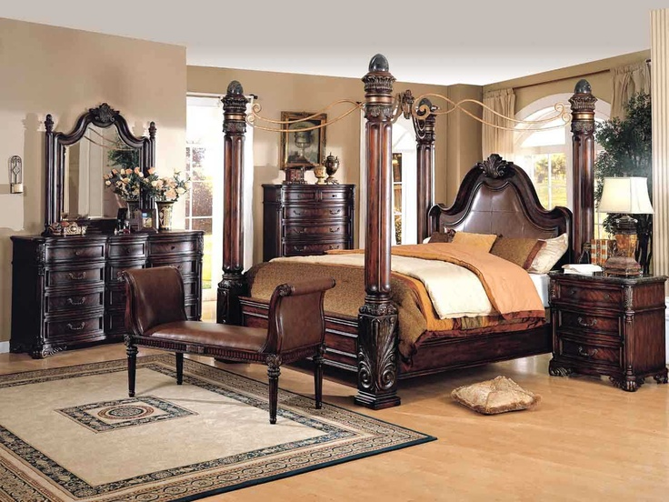 4 post canopy bed cherry bedroom furniture dark cherry - Four poster king size bedroom sets ...