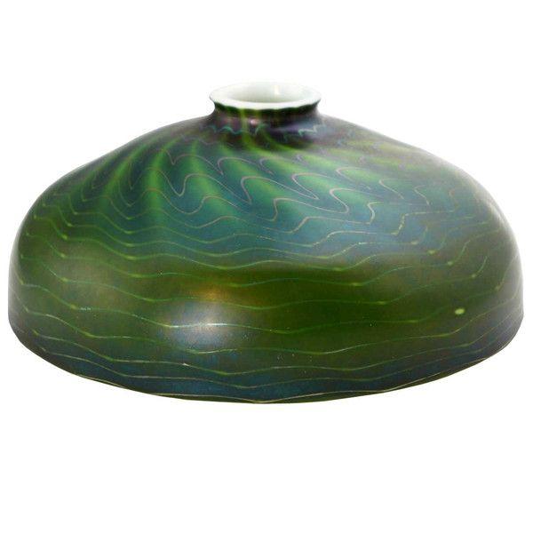 American Fostoria Art Glass Green Floor Lamp Shade c. 1920