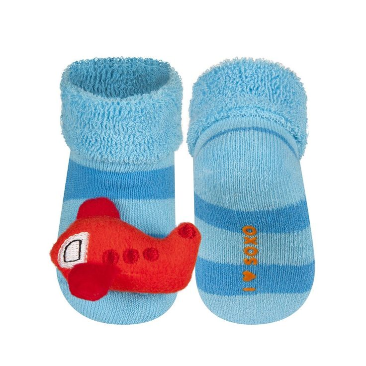 BABY RATTLE SOCKS 'SOXO' SMALL - PLANE    #MamaFashionMe - Aussie Online Store with Beautiful Accessories for Girls + Some for Boys