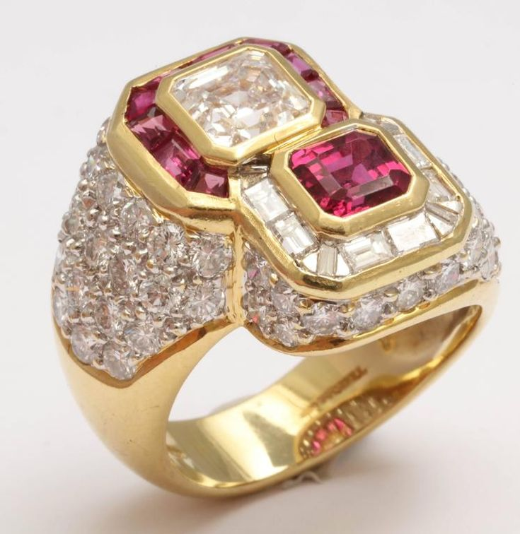 Ruby and Diamond Cross-over Ring