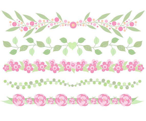 Flower border clipart Flower border clip art ETSY $3.30