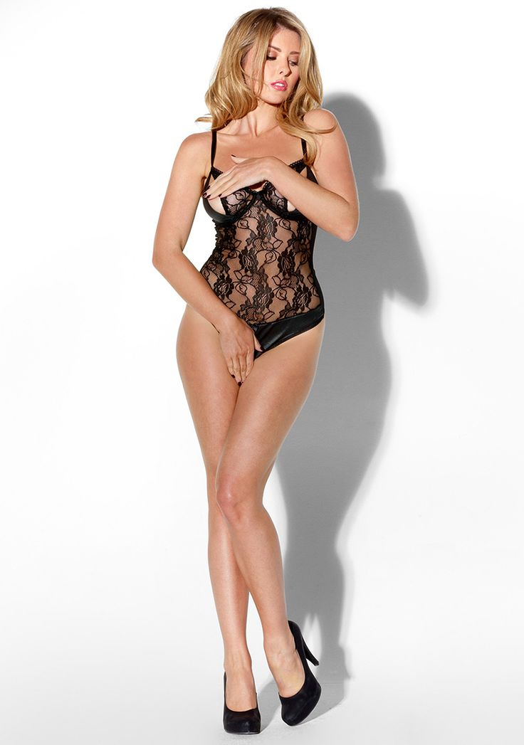 Kiss Me Hot To Handle Teddy £29.99 This crotchless thong body is naughty all over! With a peek-a-boo bra and back bra fastenings, this piece is finished with wet look panels.  www.townoftoys.co.uk