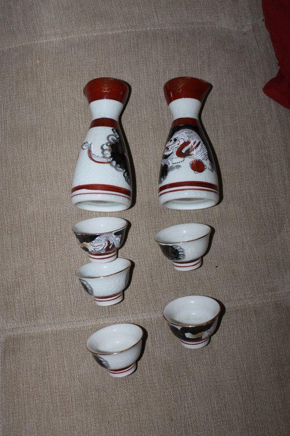 Vintage Japan Sake Set Asian Liquor Glasses by YourVintageDays