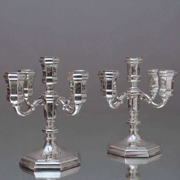 Barocke Pracht: Paar Kandelaber, Silberleuchter, Kerzenständer, Leuchter, Silber