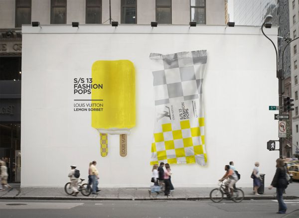 "Name: Louis Vuitton Lemon Sorbet • Designer: Lara Aktinson • Description: ""This is a collaboration in progress with a high fashion department store in the U.A.E., inspired by the most iconic S/S 13 fashion collections and the summer popsicle fad."" — ""S/S13 Fashion Pops"" by Lara Aktinson, Behance (Retrieved: 1 December, 2013)"