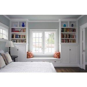 Bedroom Window Seat- Traditional - bedroom - Benjamin Moore Arctic Gray - Mueller Nicholls