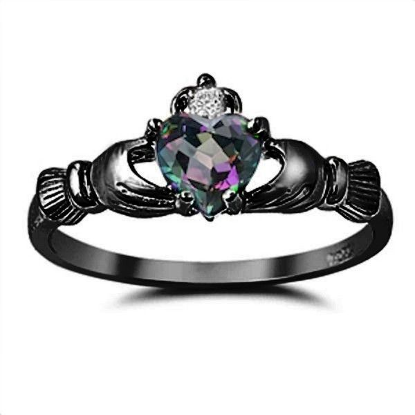 Mystic Rainbow Fire Topaz Black Gold 925 Sterling Silver 0.75 Diamond... ($29) ❤ liked on Polyvore featuring jewelry, rings, wedding anniversary rings, wedding rings, yellow gold wedding rings, diamond accent rings et gold rings