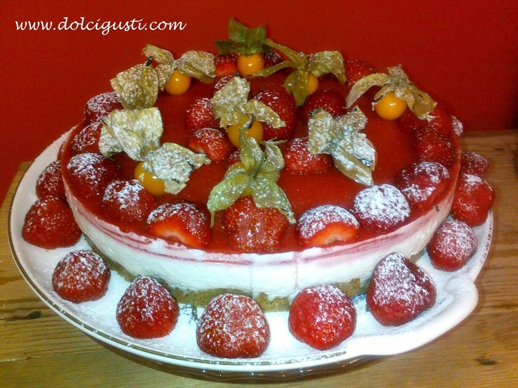 mousse cake with strawberry jam
