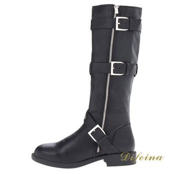 Women's Round Head Side Zipper Boots Metal Decorative Lady's Ankle Boots