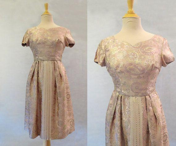 Pink and Gold Brocade Dress