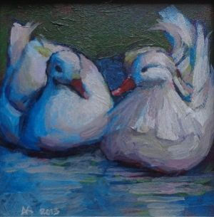 Pure mandarin ducks painting by Alexandra Kruglyak