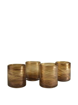 Artland Set of 4 Shimmer 16-Oz. Double Old-Fashioned Glasses (Amber)