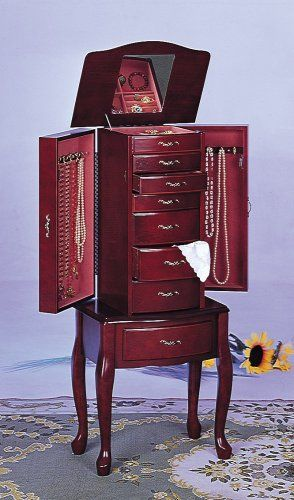 Deluxe 7 Drawer, 2 Door Queen Anne Style Jewelry Armoire Mahogany Finish  Wood, Measures X X 39 H. Some Assembly Required.