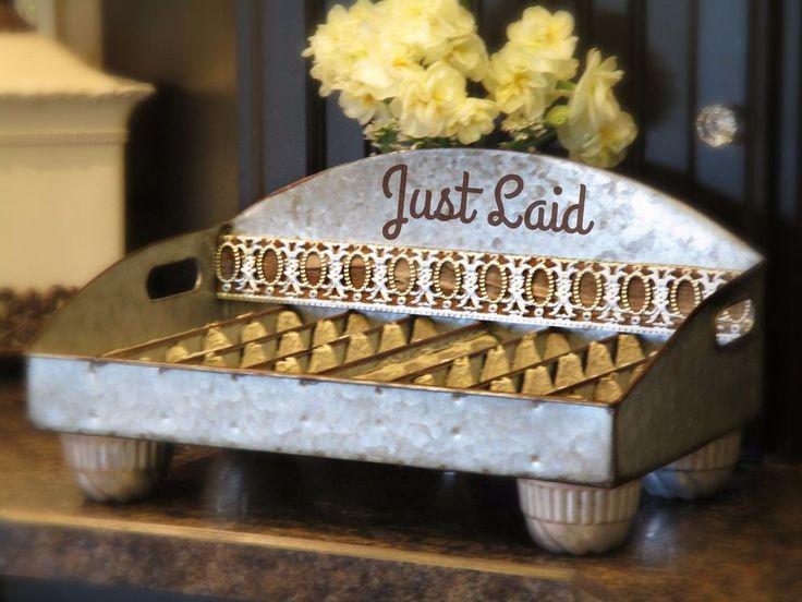 Metal Counter Top Egg Holder~Holds 40+ eggs~Ornate Metal~Vintage Tin Legs