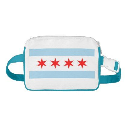 Patriotic Fanny Pack with Flag of Chicago USA - accessories accessory gift idea stylish unique custom