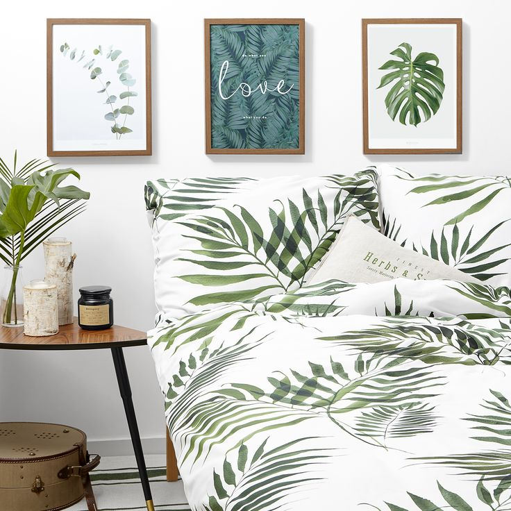 Palm tree White pocket bedding #green #botanic #leaves