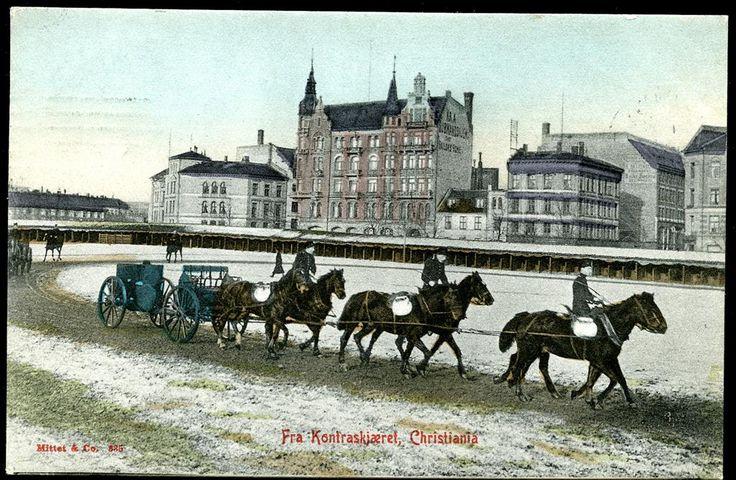 Christiania - Kristiania - Oslo  KONTRASKJÆRET med militær ekvipasje. Fint kolorert kort, utg Mittet, stpl. Kr.a. 1907
