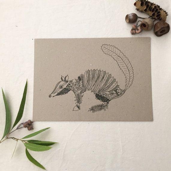 Numbat out of Natives - print of original, handdrawn fineliner artwork