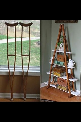 Repurpose crutches into shelves