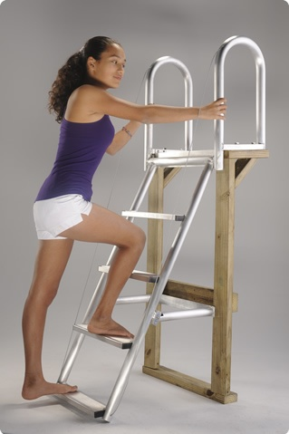 30 degree angle. Easy access dock ladder.