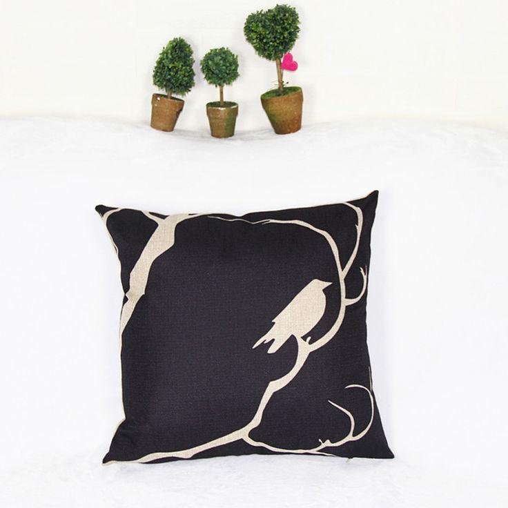 Новая площадь красочные дома декоративная мягкое автотентами белье дерево птица тени свежий черный костюм подушки almohada N ( 479 )