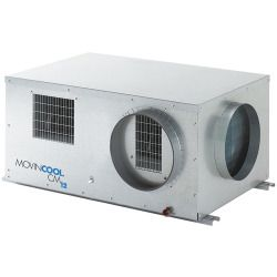 Movincool 208/230VAC Voltage, 29,400 BtuH, 1 Ceiling Mount Water-Cooled Air Conditioner, R-410A Refrigerant T Model: CMW30 Ceiling Mount Water-Cooled Air Conditioner, 29,400 BtuH, Voltage 208/230VAC, 1 Phase, 8.9 Amps, Width 45 In., Depth 32 In., Height 20 In., Evaporator CFM 1060/840, Evaporator Temp. Range 55 to 95 Degr