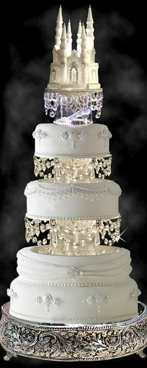 Wedding Cake ~ Lighted Cinderella Castle Swarovski Crystal Wedding Cake Topper with Slipper