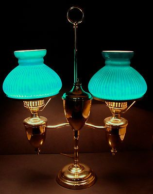 Antique Vintage Victorian Brass Double Student Oil Lamp Green Ribbed Shades | eBay
