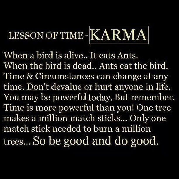 """Lesson of Time - Karma   """"When a bird is alive, it eats ants. When the bird is dead, ants eat the bird. Time and circumstances can change at any time. Don't devalue or hurt anyone in life. You may be powerful today, but remember: time is more powerful than you! One tree makes a million match sticks. Only one match stick is needed to burn a million trees. So be good and do good."""""""