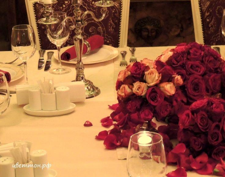"""Камерная , очень уютная свадьба в ресторане Порту Атриум. Розовые шары и свечи. Студия флористики и декора  """"Цветтон"""""""