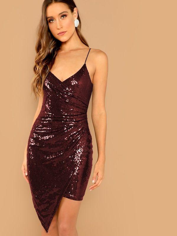 8de5538617 Surplice Wrap Sequin Cami Dress -SHEIN(SHEINSIDE) | II DRESSES <3 II ...