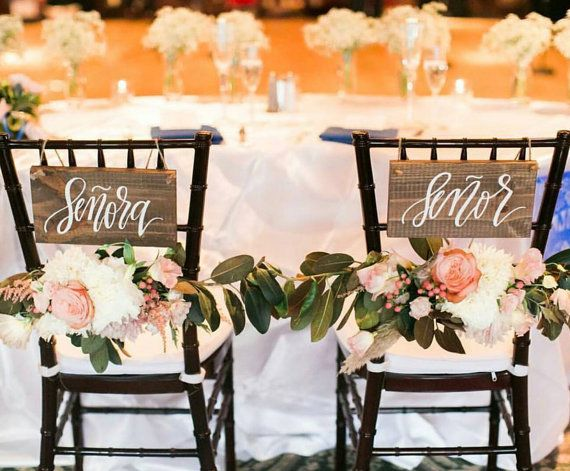 Señor and Señora Signs, Wooden Wedding Sign, Wedding Chair Signs, Spanish Weddings, Photo Prop Signs, Rustic Wedding Decor