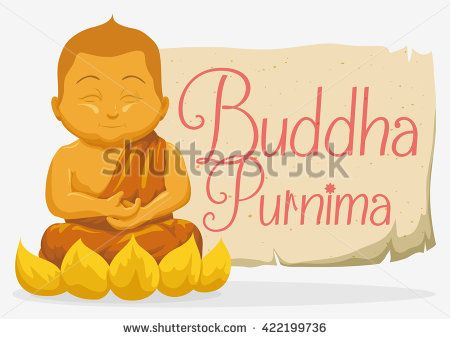 Golden statue of smiling Buddha sit over lotus flower with a commemorative scroll for Buddha Purnima holiday.