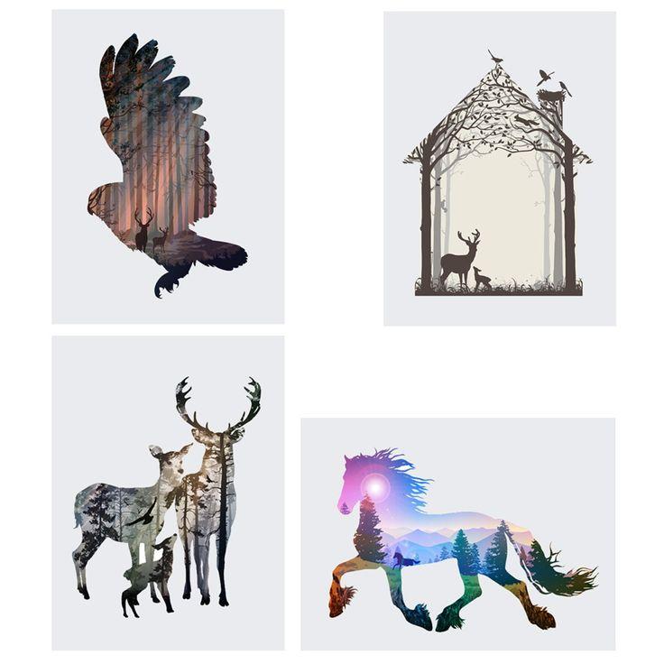 Акварель олень лошадь Орел печати абстрактный фотографии животных холст картины Главная стены в искусстве для гостиной уникальный подарок купить на AliExpress