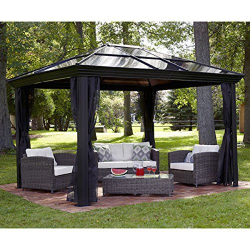 This 10 X 10 Hardtop Gazebo Tent Has A Metal Gazebo Frame And Durable  Polycarbonate Roof. The Gazebo Canopy Is A Screened Gazebo With Mosquito  Netting.