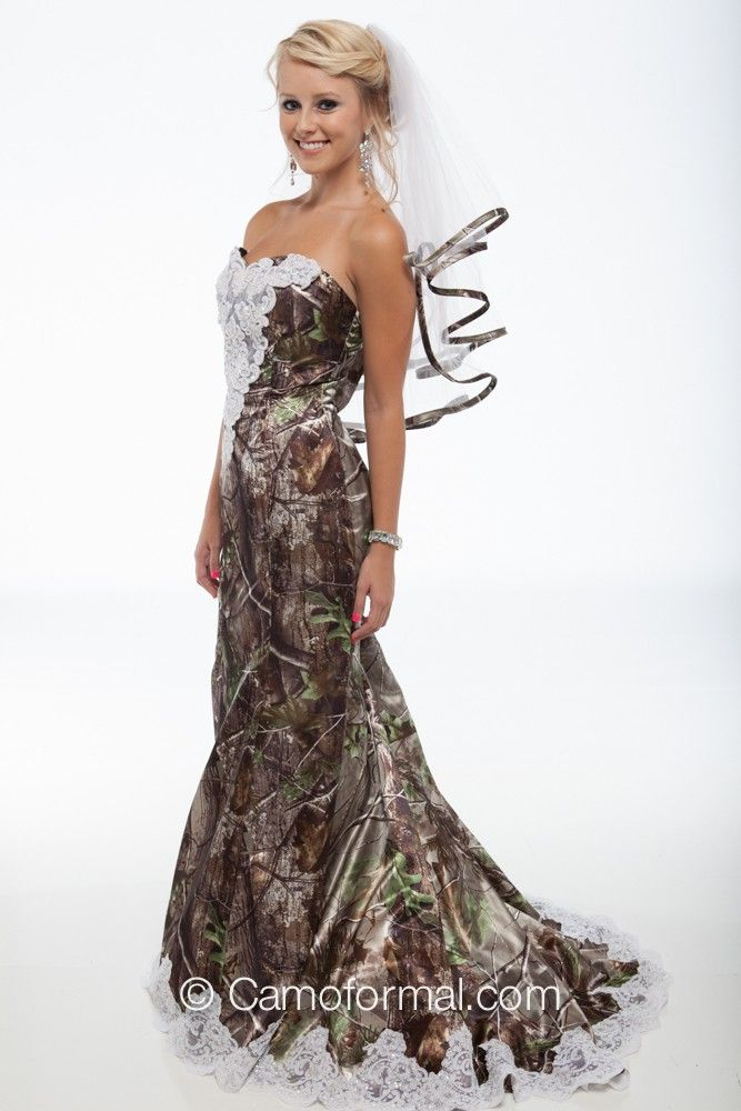 "My other favorite!!!! 3887 ""Ellen"" Camo Mermaid Wedding Gown with Sweep Train"