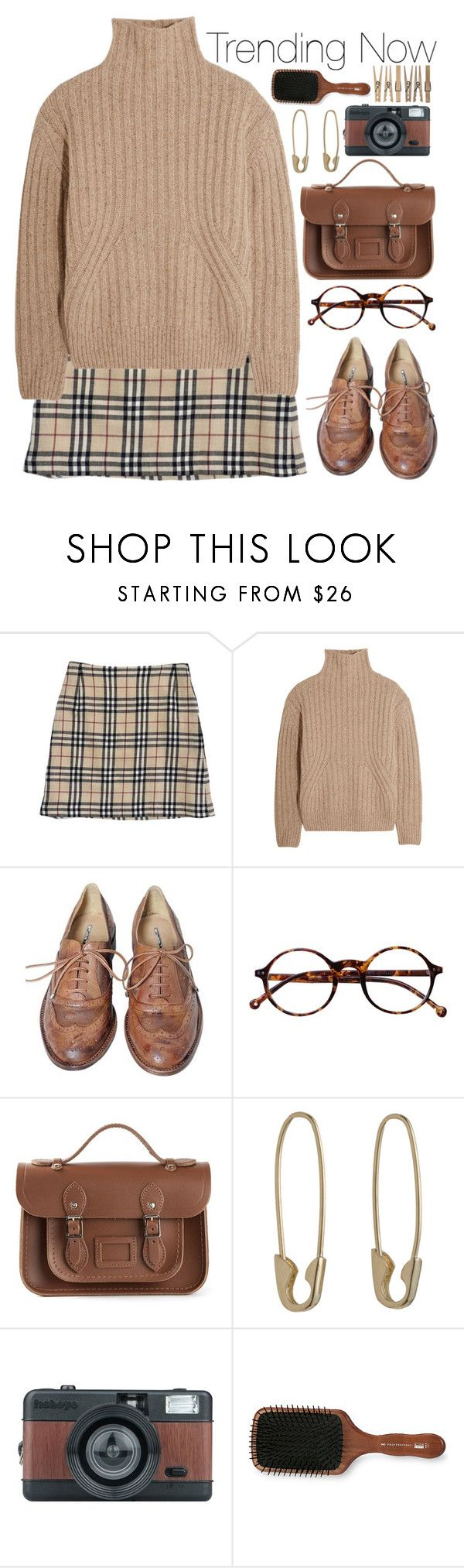 """Chunky turtlenecks & plaid skirts"" by annaclaraalvez ❤ liked on Polyvore featuring Burberry, Totême, Studio TMLS, Retrò, The Cambridge Satchel Company, Loren Stewart and Acca Kappa"