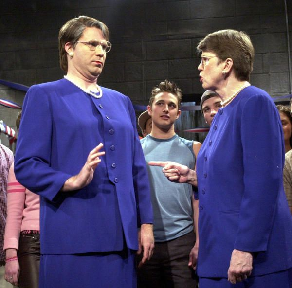 "Happy 75th birthday to the first (and still only!) woman attorney general of the U.S., Janet Reno. #throwback: Janet Reno busting ""Janet Reno's Dance Party"" — AG Reno surprised the nation and danced on Saturday Night Live with Will Ferrell (playing Reno). #classic #feminism"