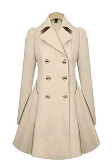 Love! Love! Love! Want! Want! Want! The back is AWESOME! Winter White Double-Breasted Long Sleeves Trench Coat Outerwear #Winter_White #Double_Breasted #Outerwear #Winter #Fashion