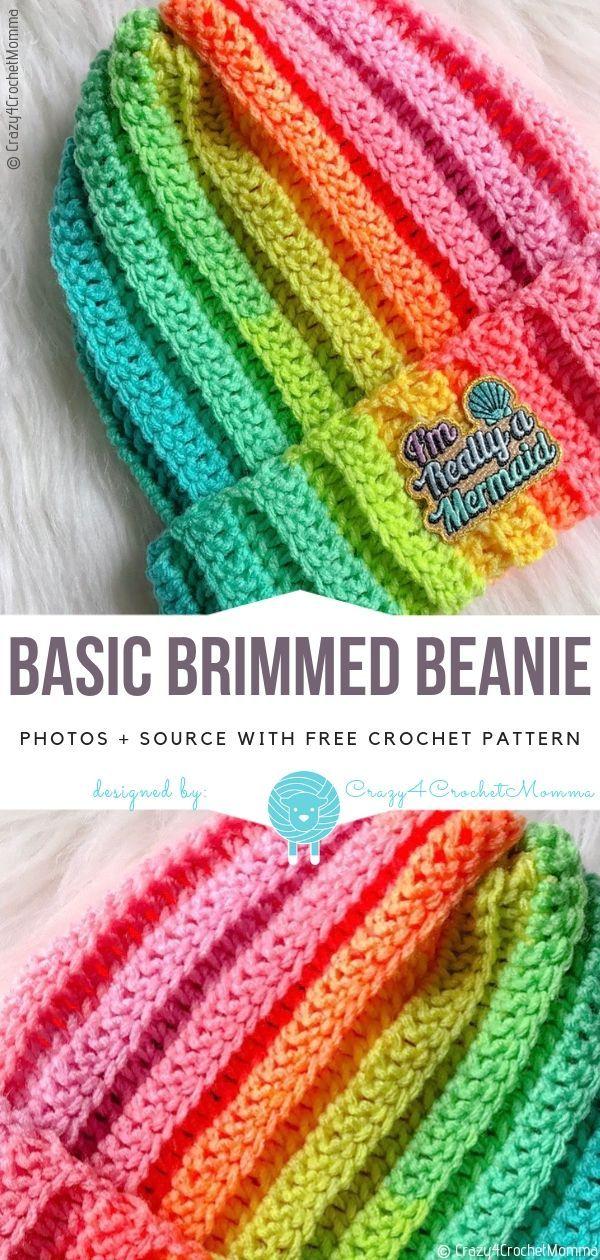 Basic Brimmed Beanie Free Häkelmuster #häkeln #sockenstricken ...