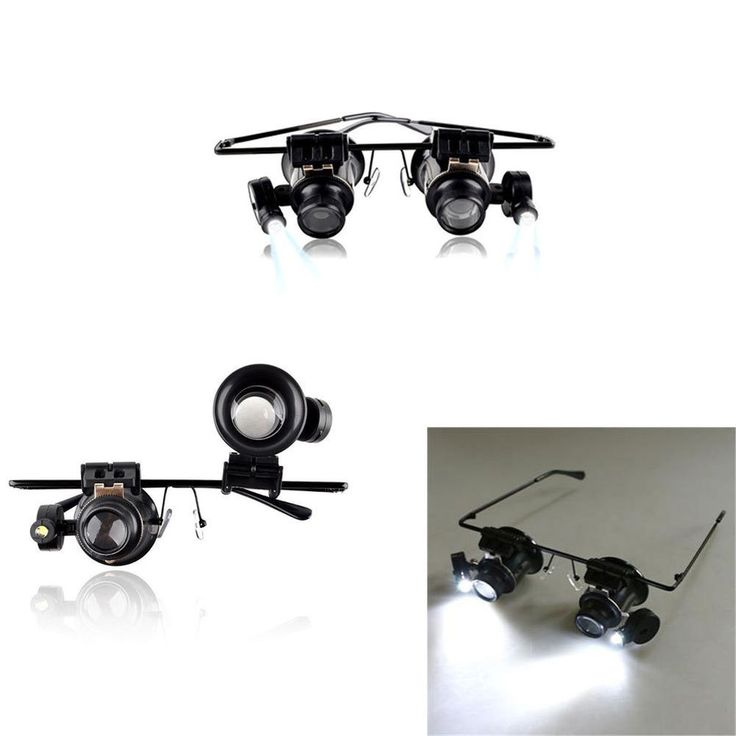 Magnifier Magnifying Eye Glasses Loupe Lens Jeweler Watch Repair LED scope Light #Unbranded