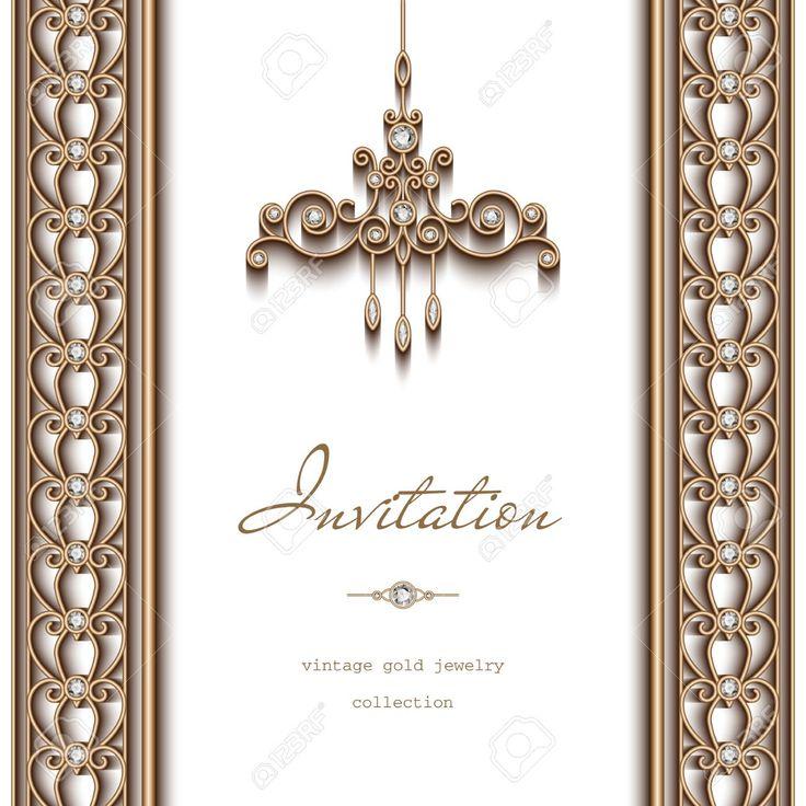 Cadre doré Vintage, modèle d'invitation, ornés lustre et bijoux frontières sur fond blanc Banque d'images - 46961073