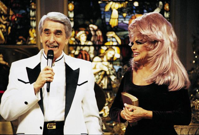 "Paul and Jan Crouch, the founders of TBN Broadcasting, a worldwide network of Evangelical ""Christian"" Broadcasting. That's her real hair. Oh yeah. God said it, I believe it, that settles it!"