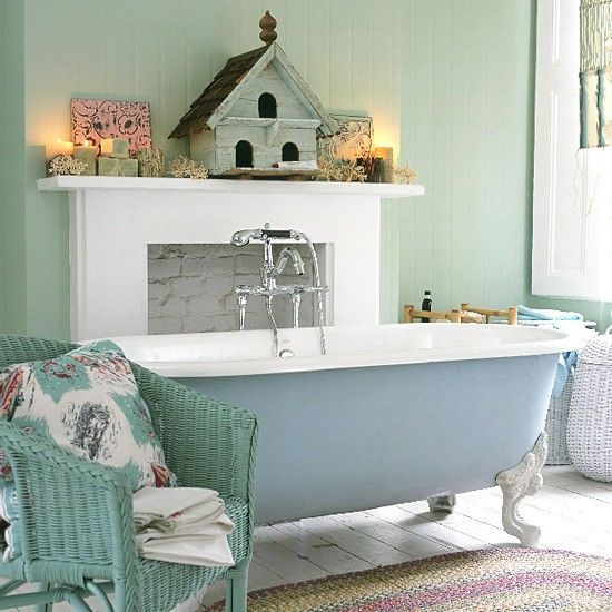 Shabby Chic Bathroom with Clawfoot Tub home country rustic ...
