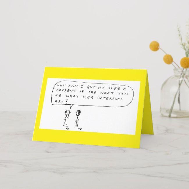 Birthday Present Marriage Cartoon Joke Holiday Card Zazzle Com
